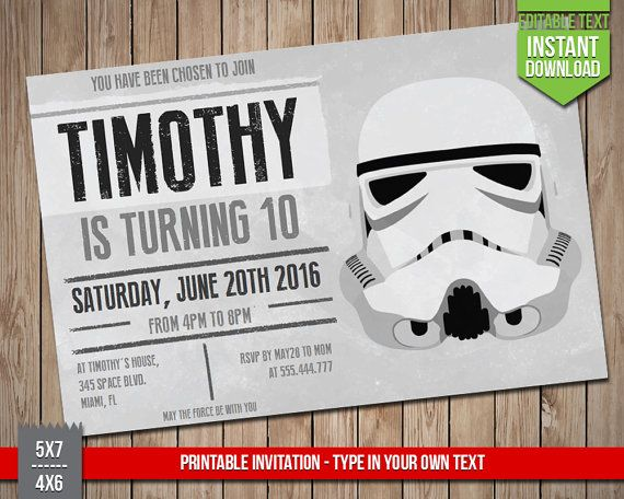 STAR WARS Invitation  Disney Star Wars Stormtrooper by RedFoxParty
