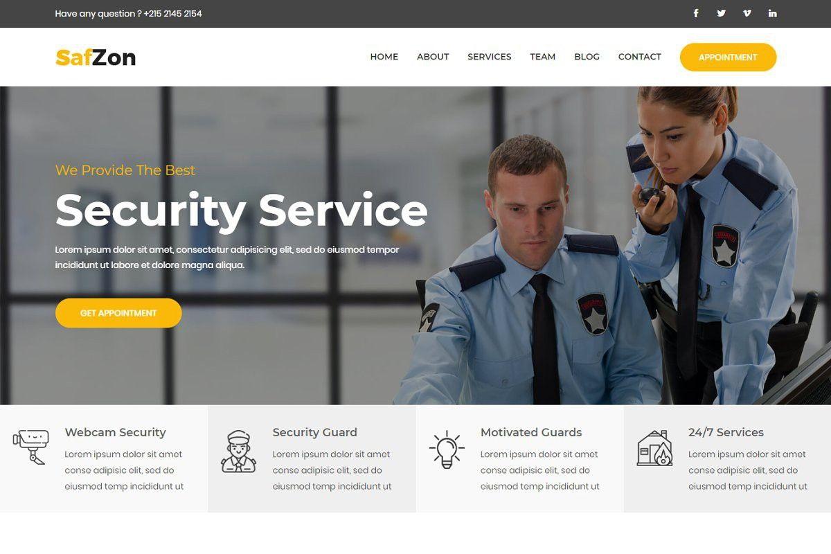 Safzon Security Guard Html Template Html Templates Security Guard Security Companies