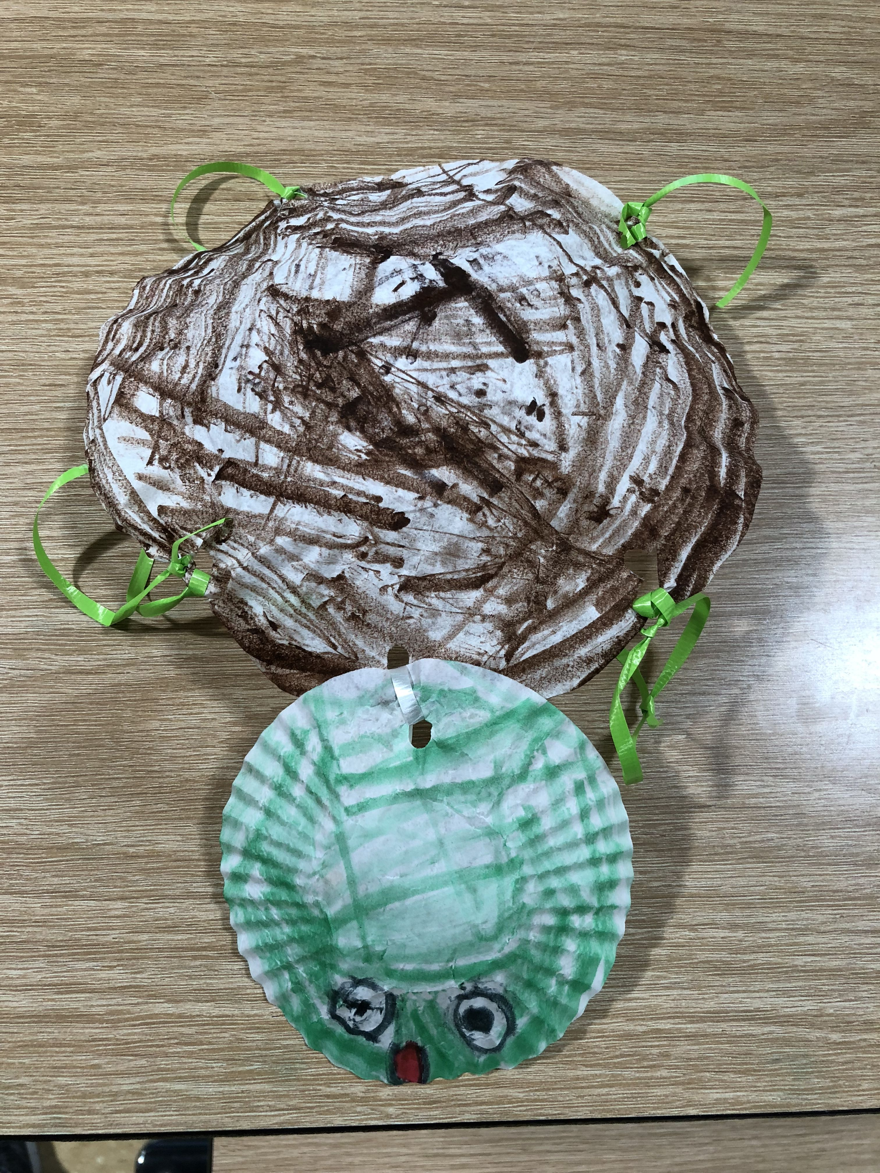Coffee Filter Turtle With Cupcake Liner Head And Ribbon Feet