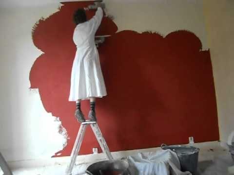 application d'un enduit à la chaux : stuc rouge Marocain | Tadelakt, Peinture tadelakt, Enduit ...