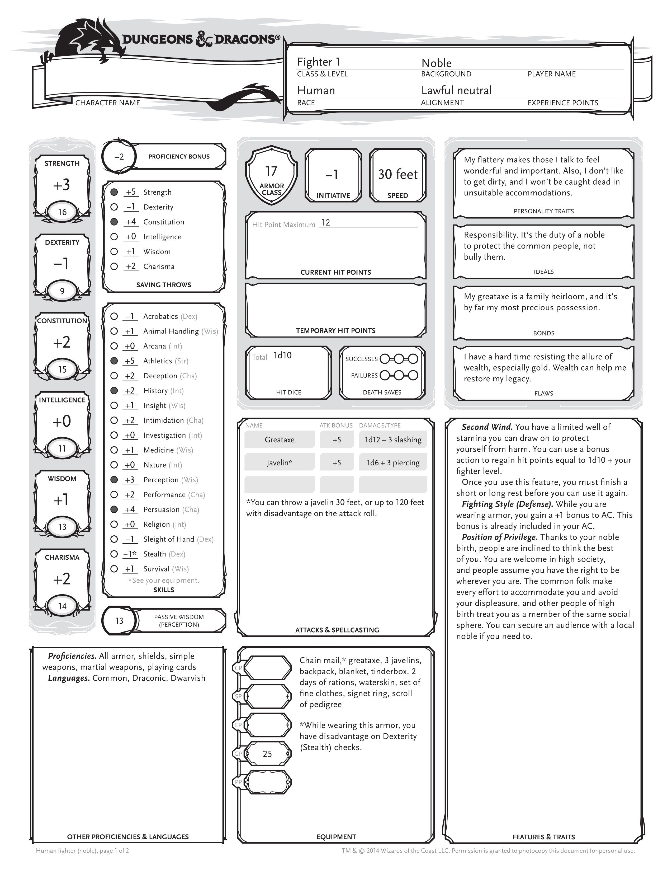 Example D Amp D Character Sheet