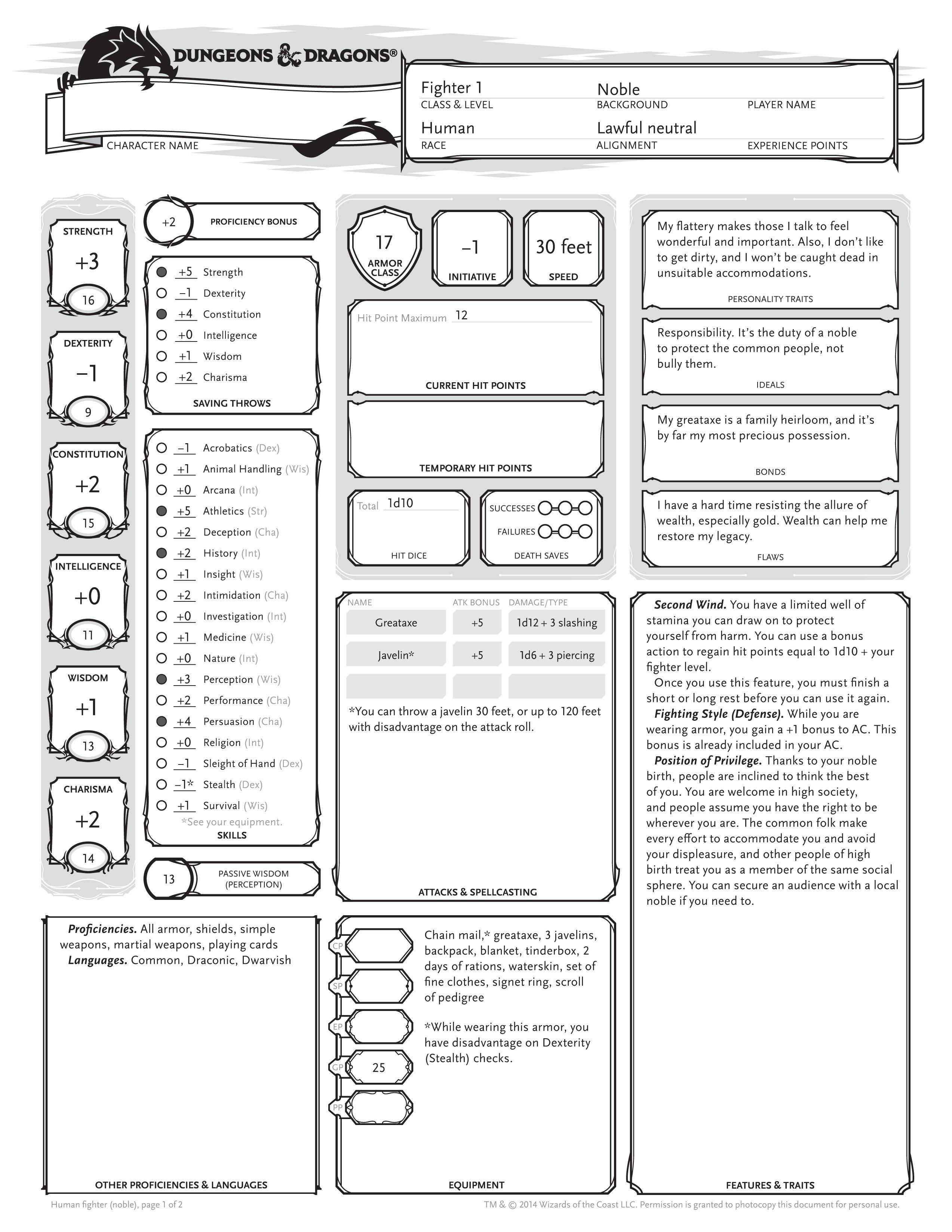Example D Amp D Character Sheet
