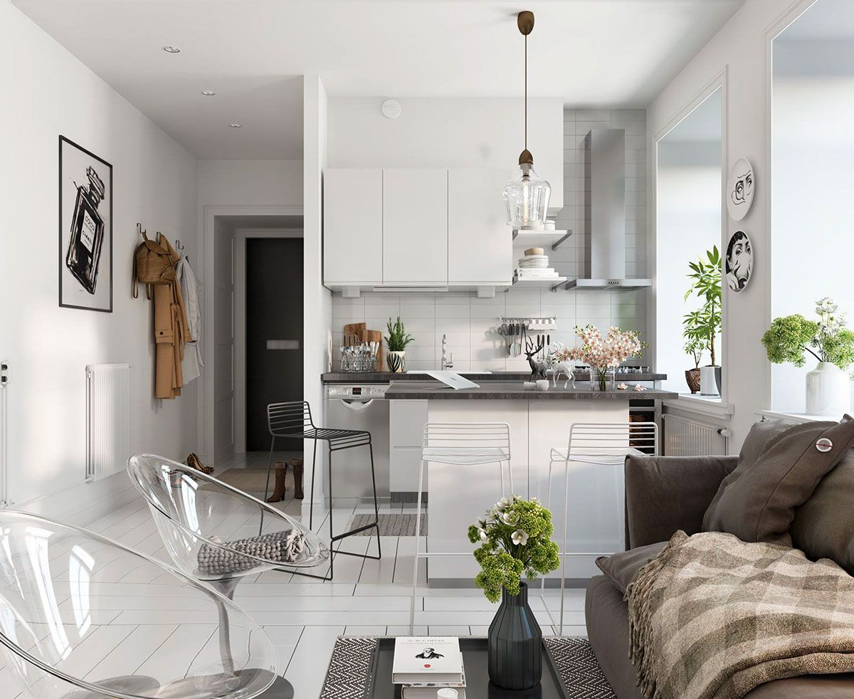 Tiny And Cozy Scandinavian Apartment Design Attractor White Living Room Decor Black And White Living Room Decor Living Room Scandinavian