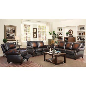 Arlington 3 Piece Top Grain Leather Living Room Set With Pushback Recliner Living Room Leather Leather Living Room Set Living Room Sets