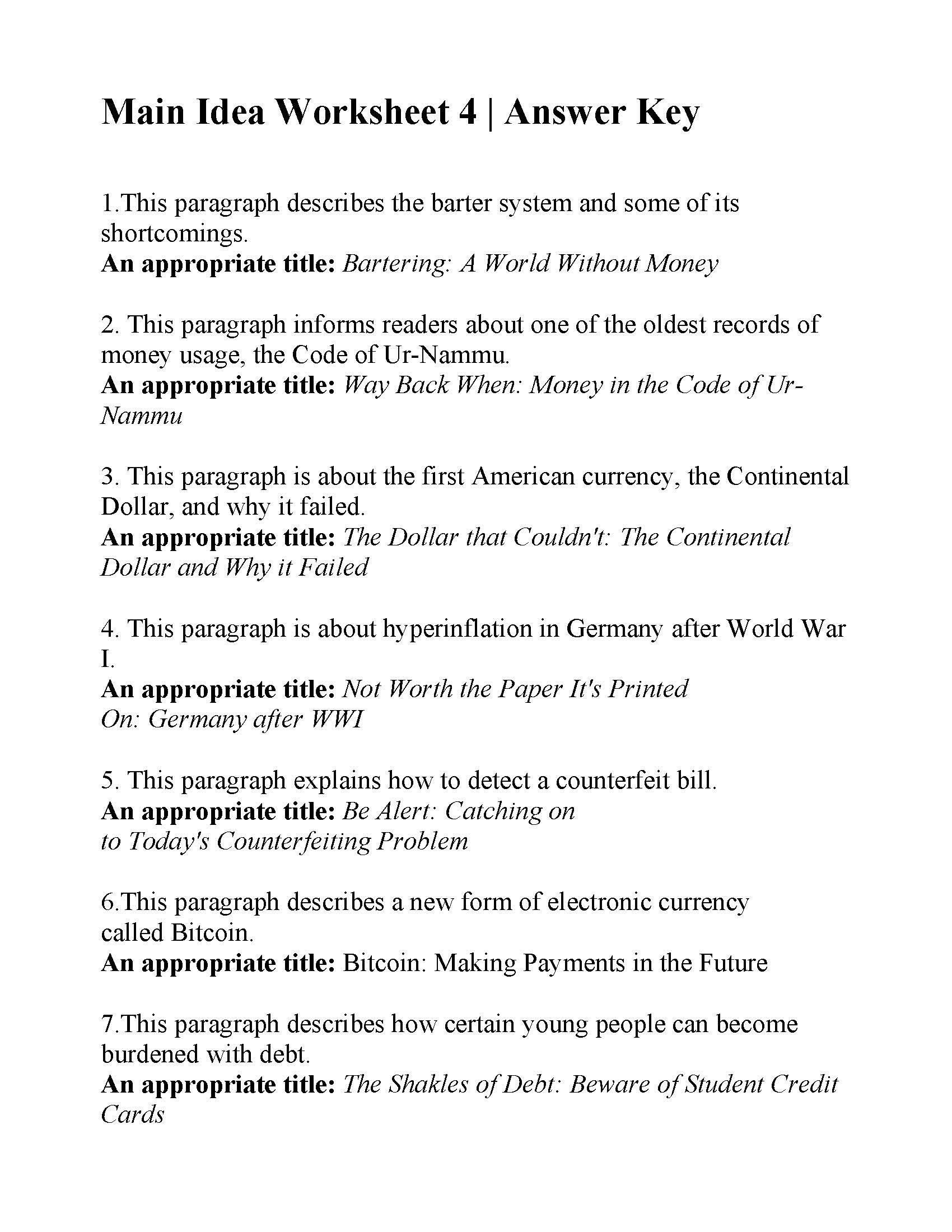 3rd Grade Main Idea Worksheets Main Idea Worksheets 5th