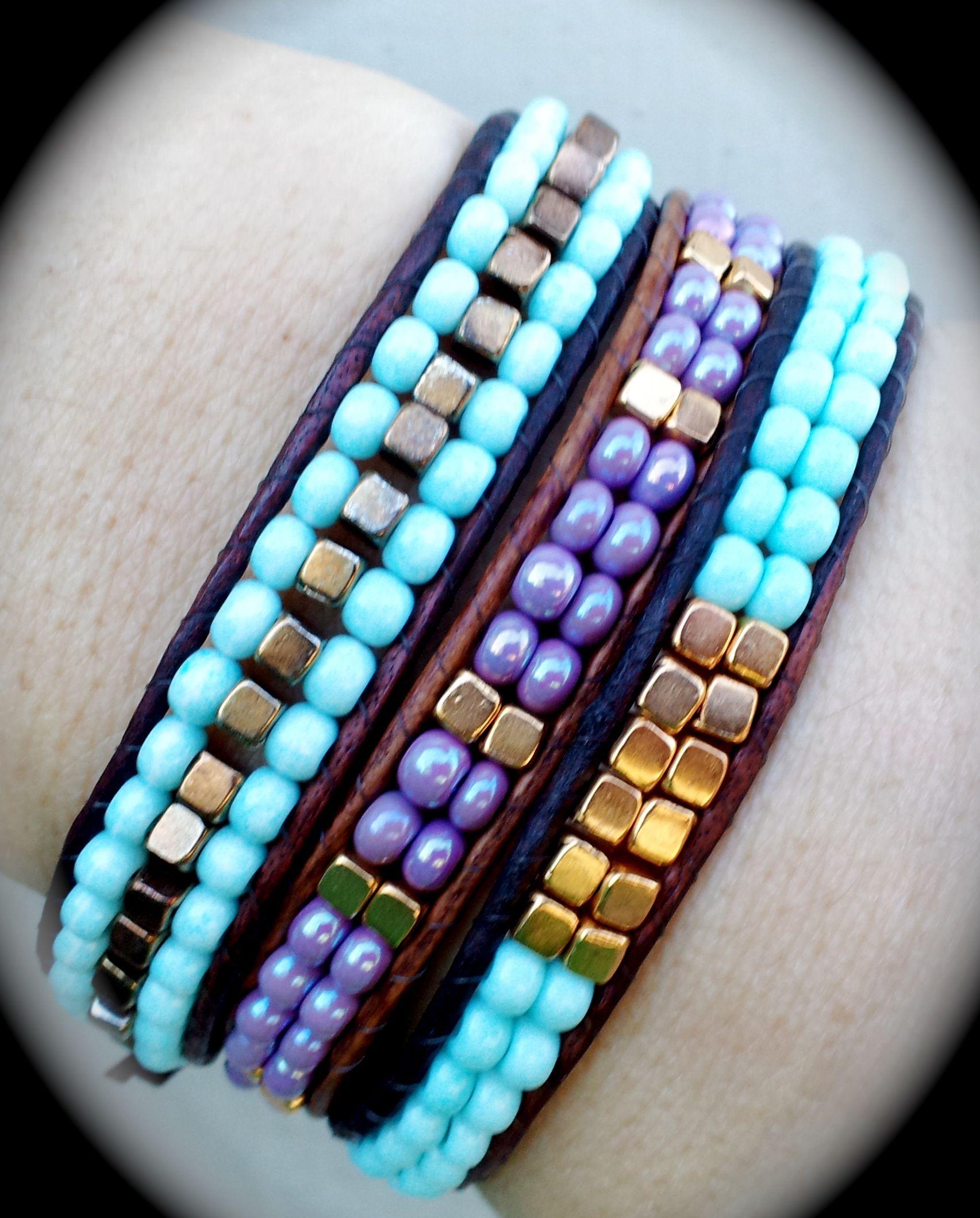 Bronzite Turquoise Stone Round Tube Leather Wrap Bracelet