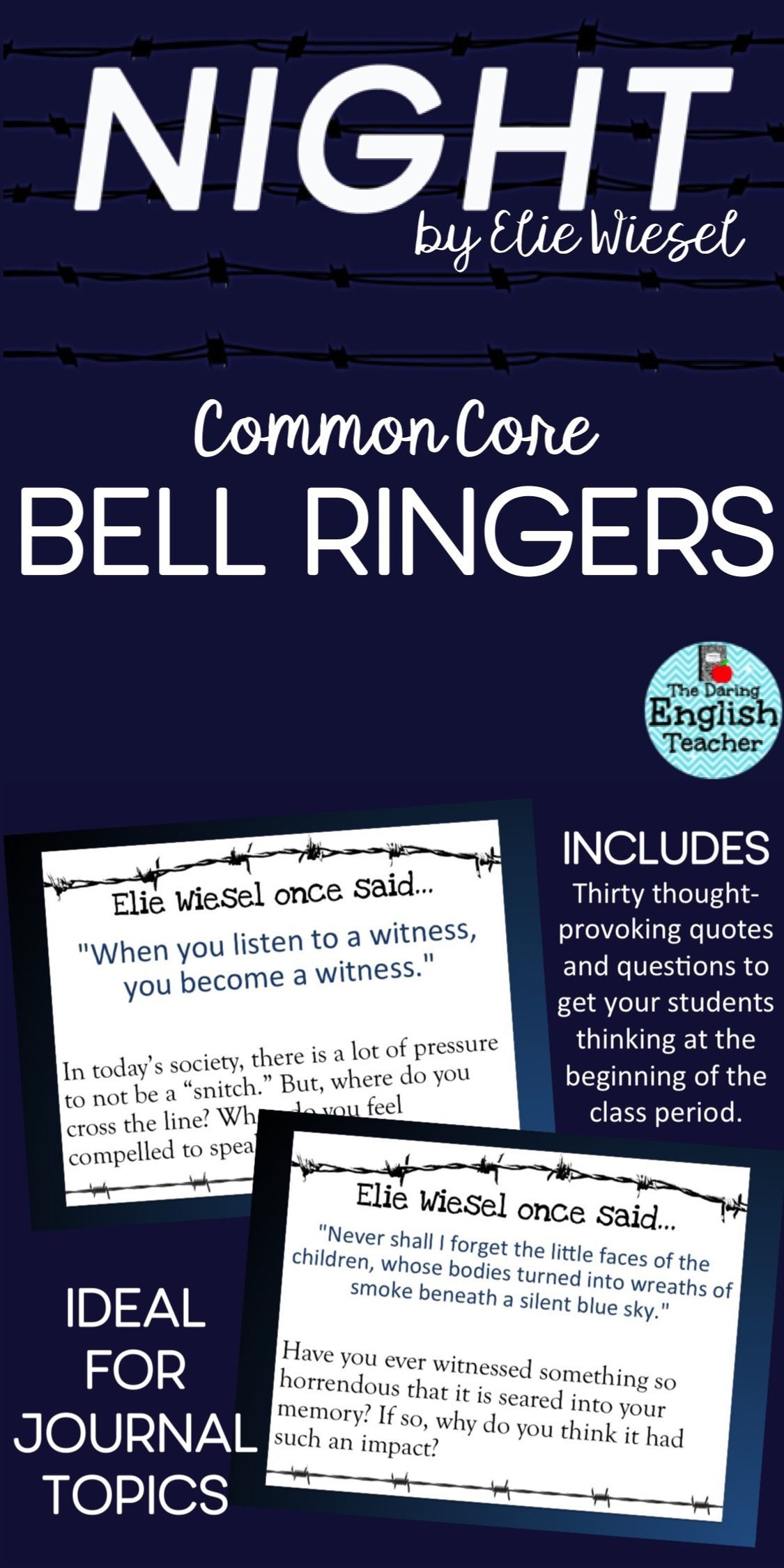 Elie Wiesel Night Common Core Bell Ringers Bell Common