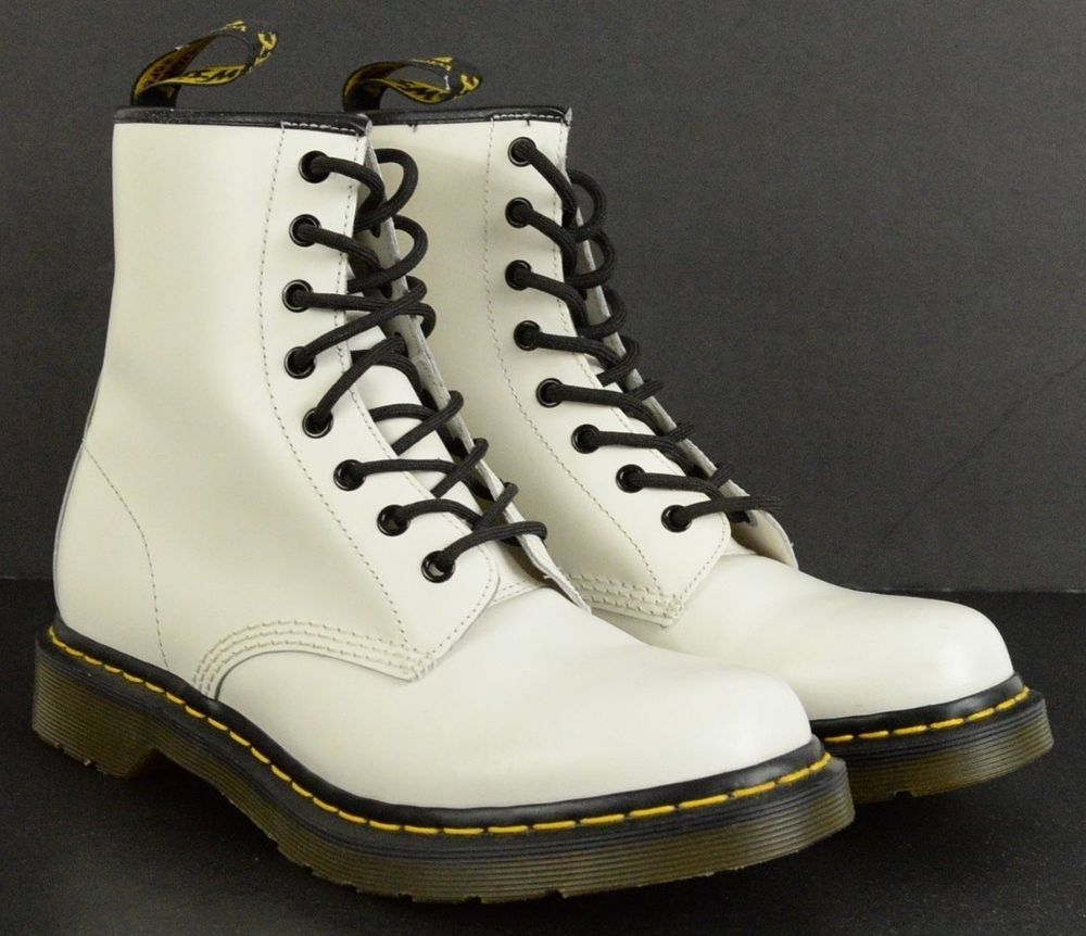 Doc DR. MARTENS 11821 1460 white leather Classic 8 eye BOOTS womens US 10 #