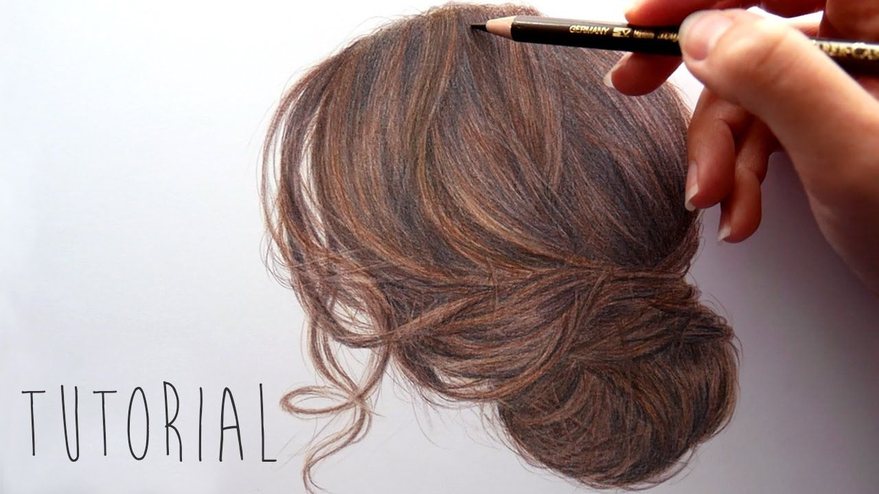 Tutorial How To Draw Color A Brown Hair Updo With Colored Pencils Emmy Kalia Youtube How To Draw Hair Realistic Hair Drawing Hyperrealism