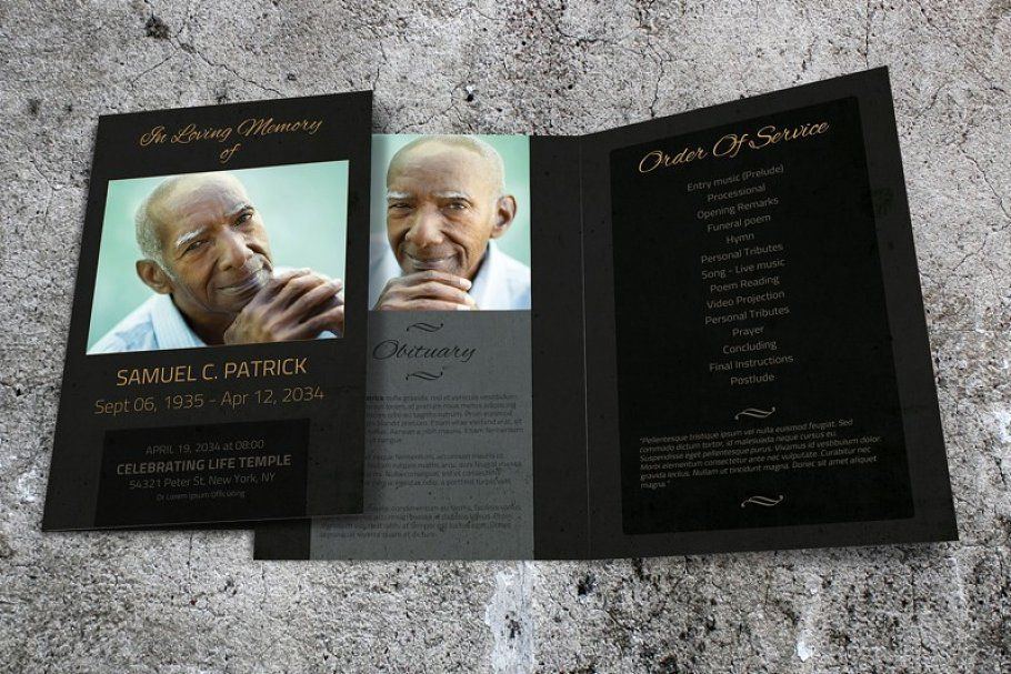 Ad Dark Funeral Program Template Word By Final Tribute On Creativemarket Instant Download Funeral Funeral Program Template Funeral Programs Program Template