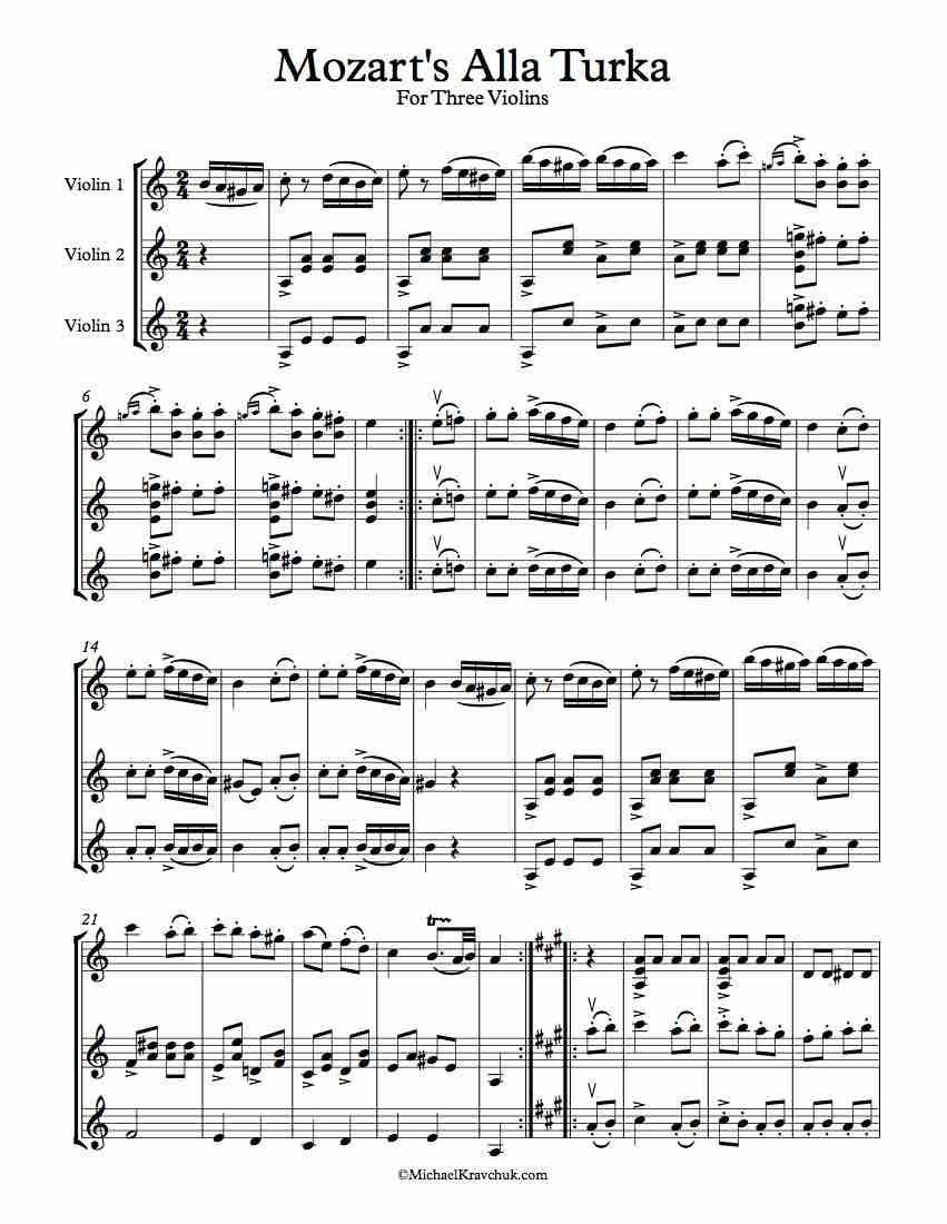 Alla Turka 3 Violins Sheet Music Violin A Major lots of free music