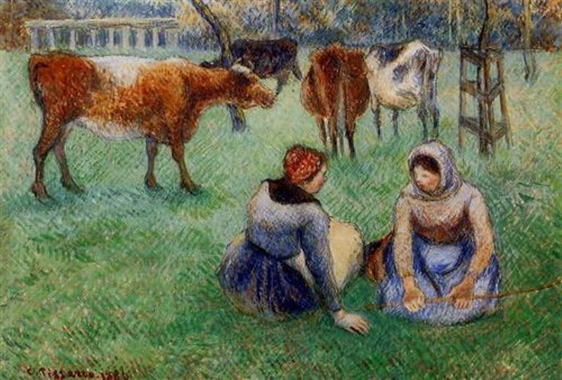 1886 Las campesinas sentadas viendo vacas