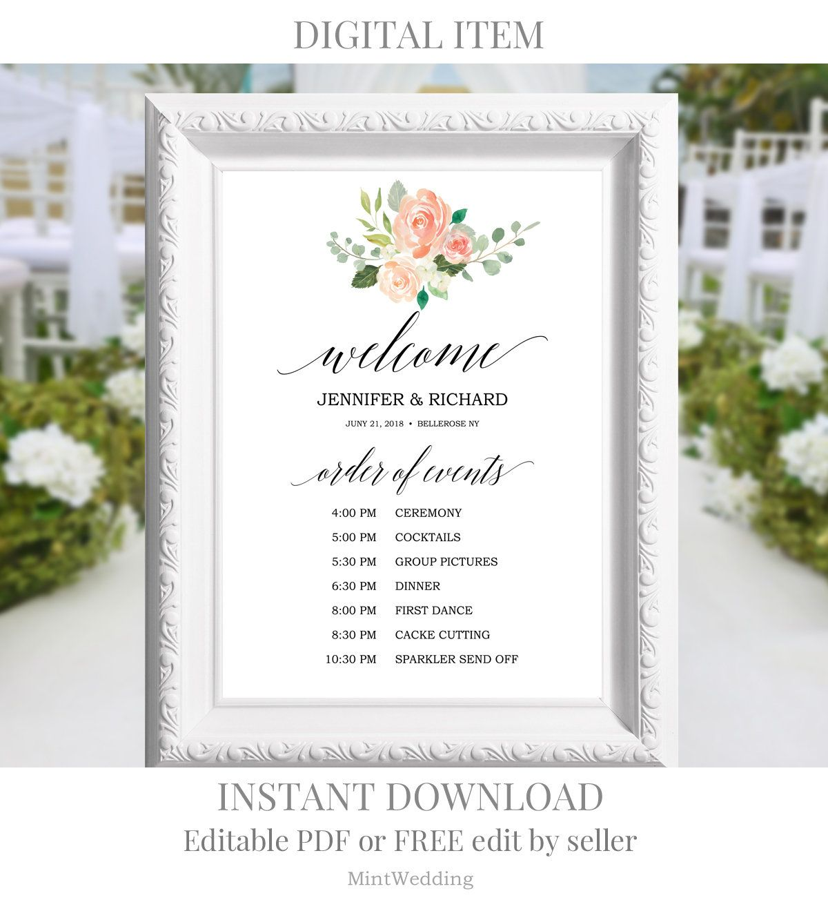 wedding program sign wedding ceremony sign printable program