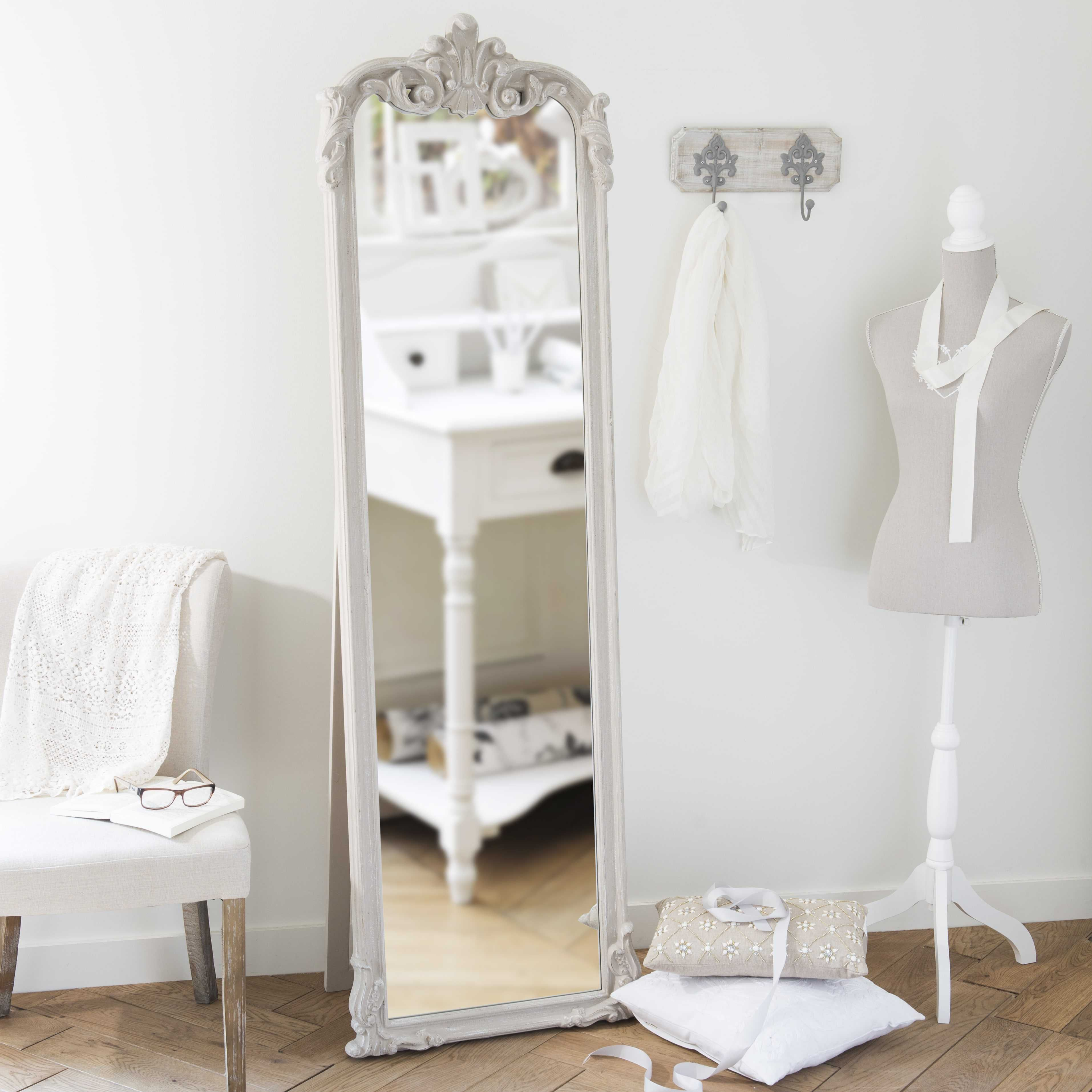 Miroir psyché beige H 178 cm | Miroir psyché, Plein pied et Psyché
