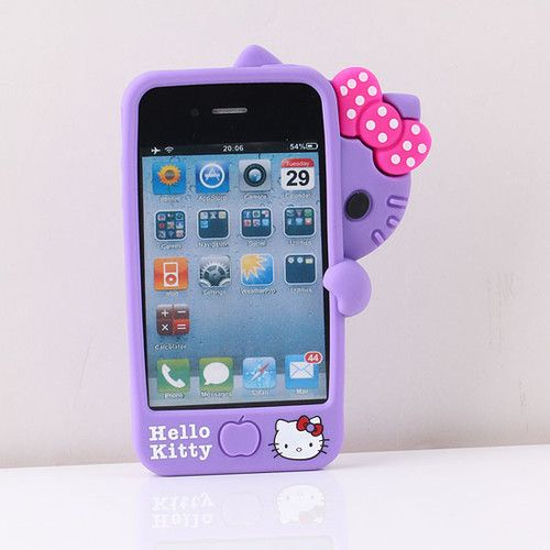 b51658286 3D Purple Soft Sinicone Peekaboo Hello kitty Call Phone Case Cover For  IPhone 4 4S