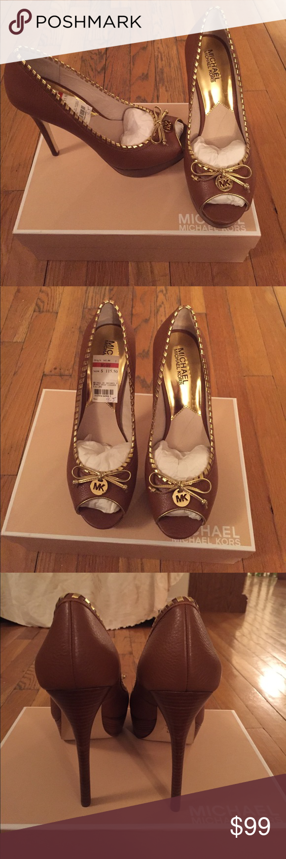Authentic Michael Michael Kors brown pumps Authentic brown Michael Kors 5inch heels. Gold bow and trim around shoe. Worn once around the house. Original packaging and box included. Michael Kors Shoes Heels