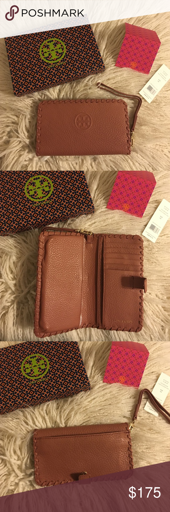 """Tory Burch Marion Smartphone Bi-Fold Wristlet NWT Tory Burch Marion Smartphone Bifold Wristlet! It's the all-in-one for your mobile - it fits an iPhone 6 - and your cash and cards. Made of super-soft pebbled leather, it features plenty of pockets and compartments. Color is maple sugar! * Fold-over pin snap closure * Removable wriststrap * Fits an iPhone 5 and 6 * Length: 6.97""""  * Height: 3.98""""  No trades No lowballing ✅Bundle Discount  Authentic items  ✨purchase at listed price get a free…"""