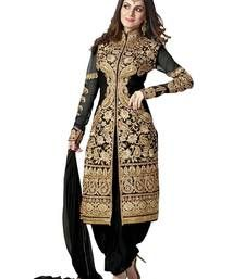 3d9f95607 Buy Black embroidered georgette semi stitched salwar with dupatta Online
