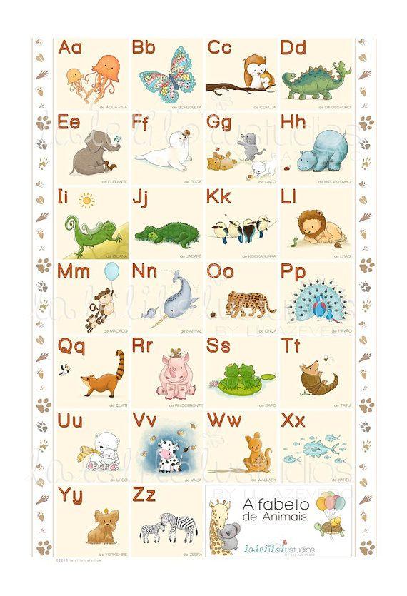 Animal Alphabet in Portuguese, ABC animals, Children's ...
