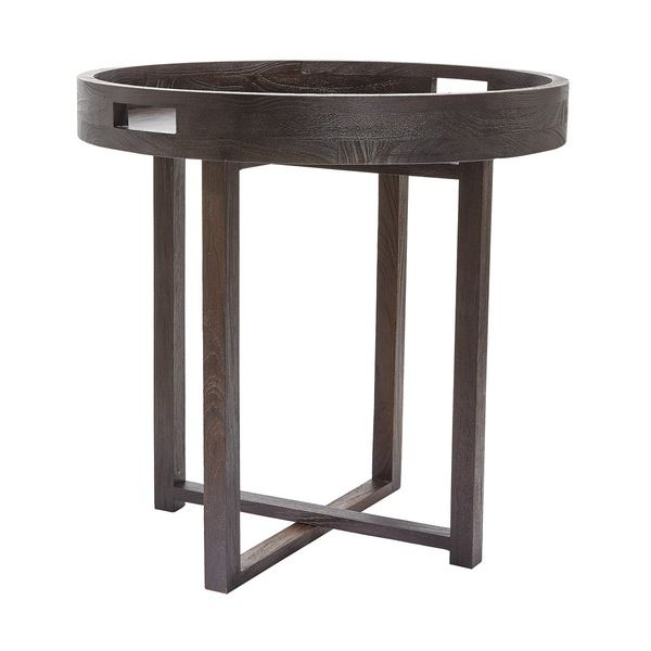 Dimond Home Large Round Black Teak Side Table Table Black Side