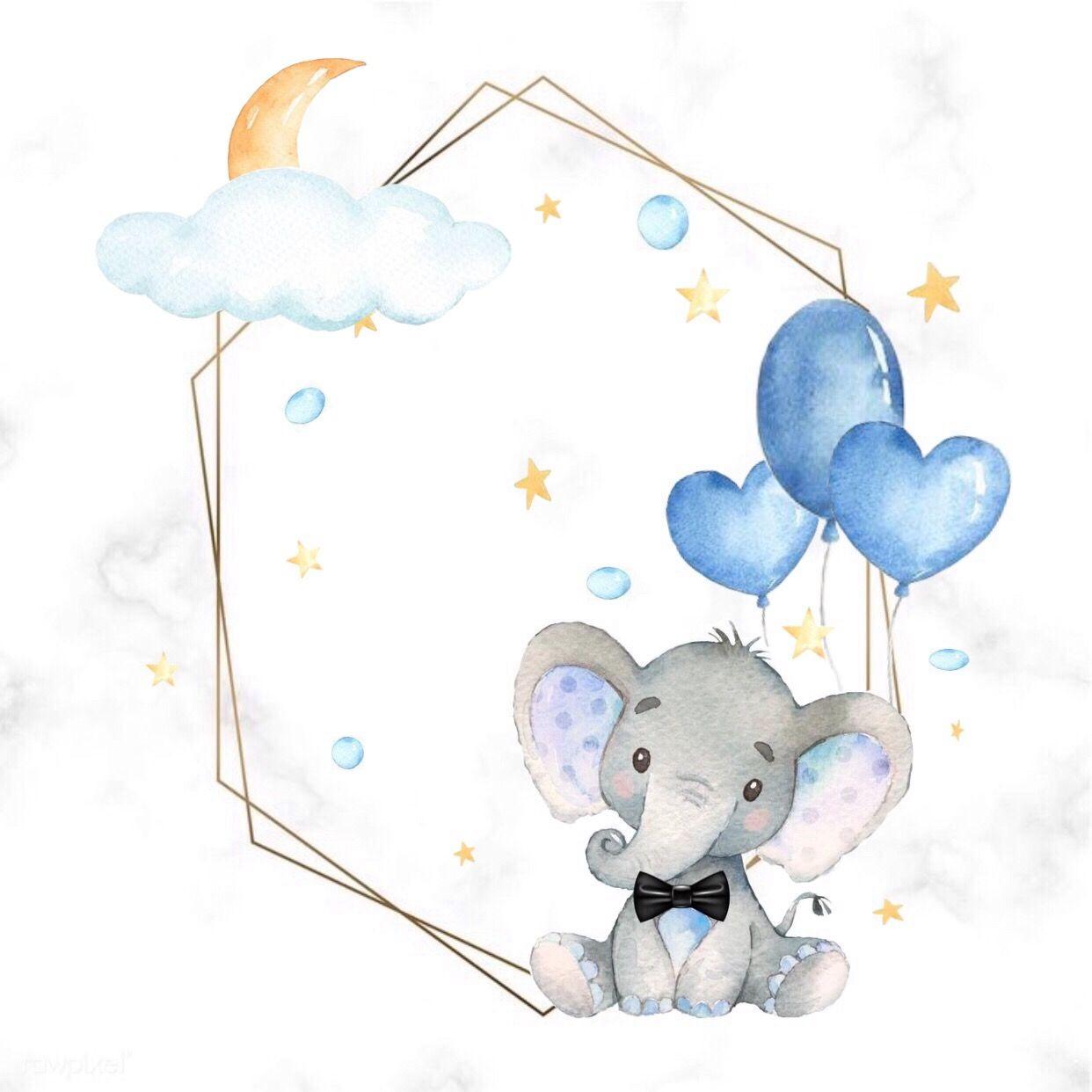 ثيمات مواليد مولود فيل أزرق Baby Drawing Baby Art Baby Prints