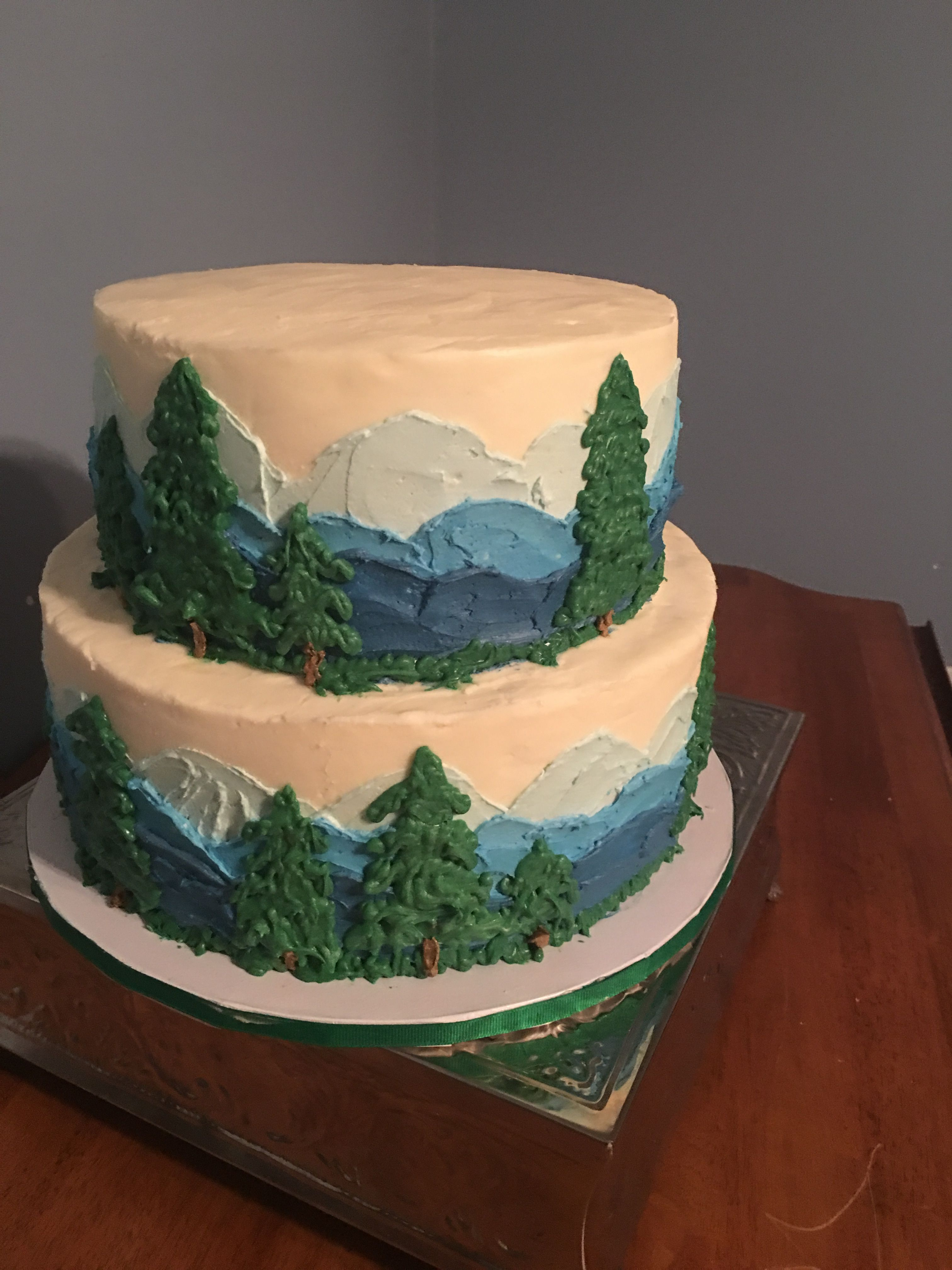 Mountain Scene Engagement Party Cake With White Chocolate