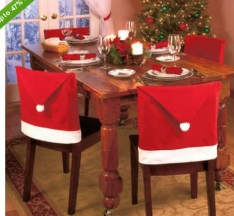 1 Pcs Christmas Decorations Happy Santa Red Hat Chair Back Covers