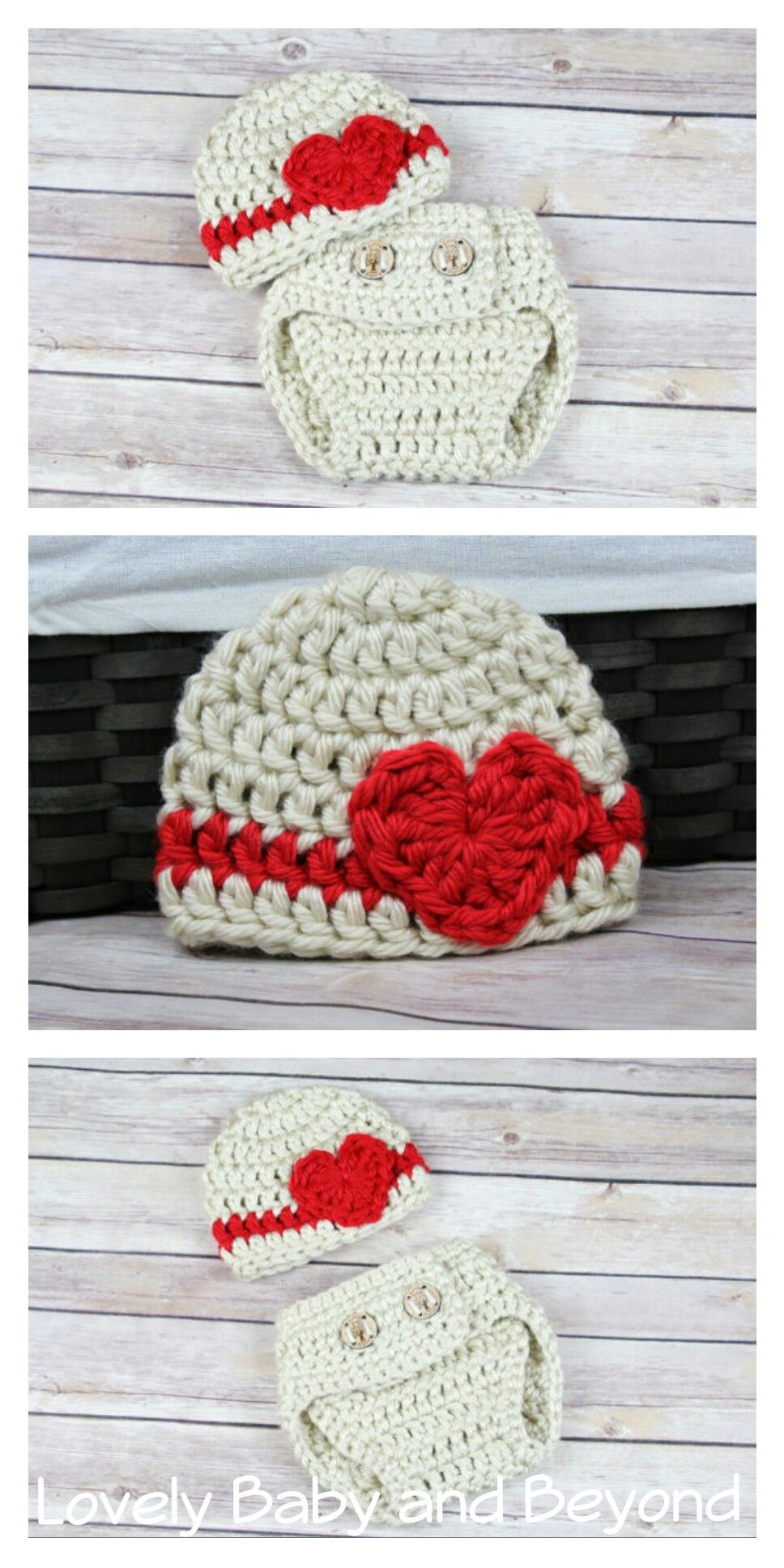 Valentine\'s Hat and Diaper Cover, Crocheted Diaper Cover ...