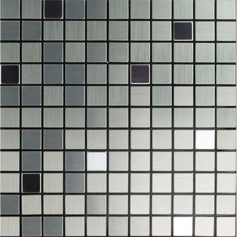 Metallic Mosaic Tile Grey Square Brushed Aluminum Panel Metal Wall