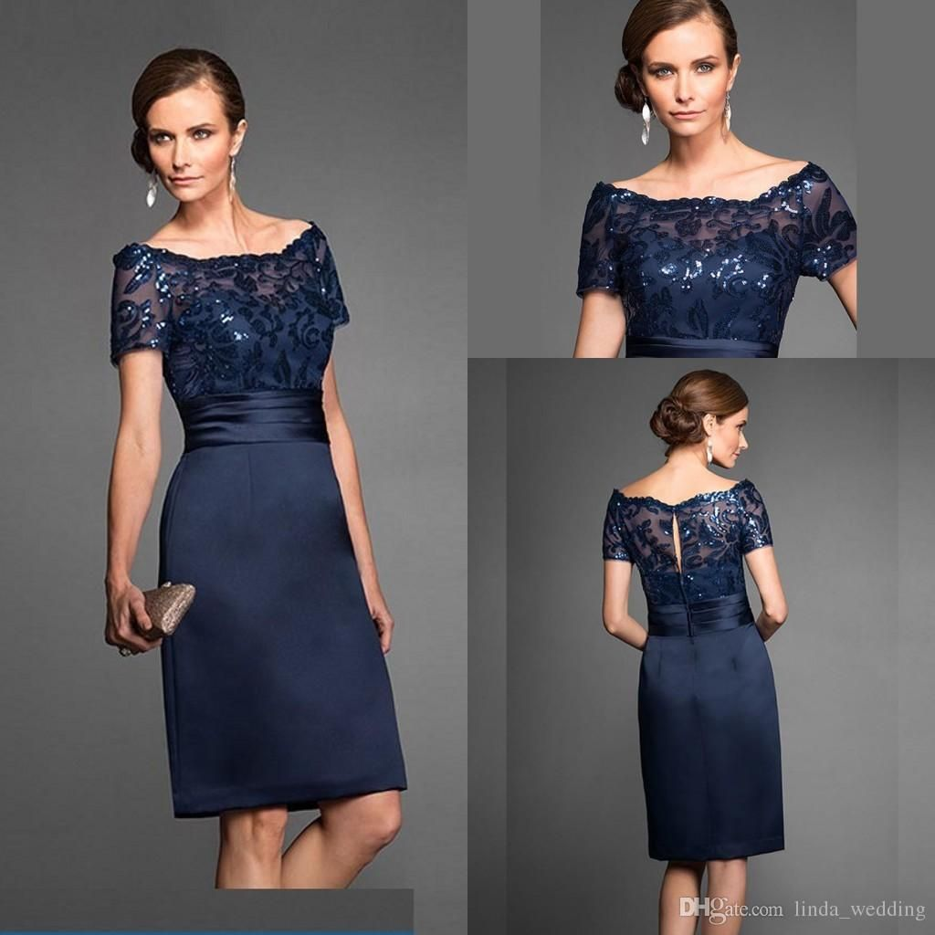 Navy Blue Mother Of The Bride Dresses Elegant High Quality Knee ...