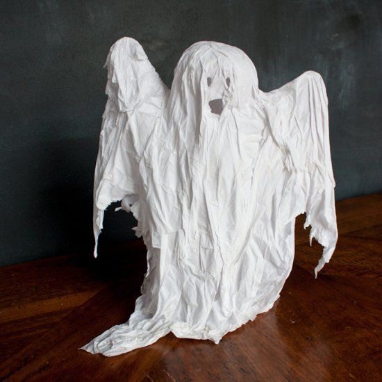 make your own spooky ghost decorations with recycled materials