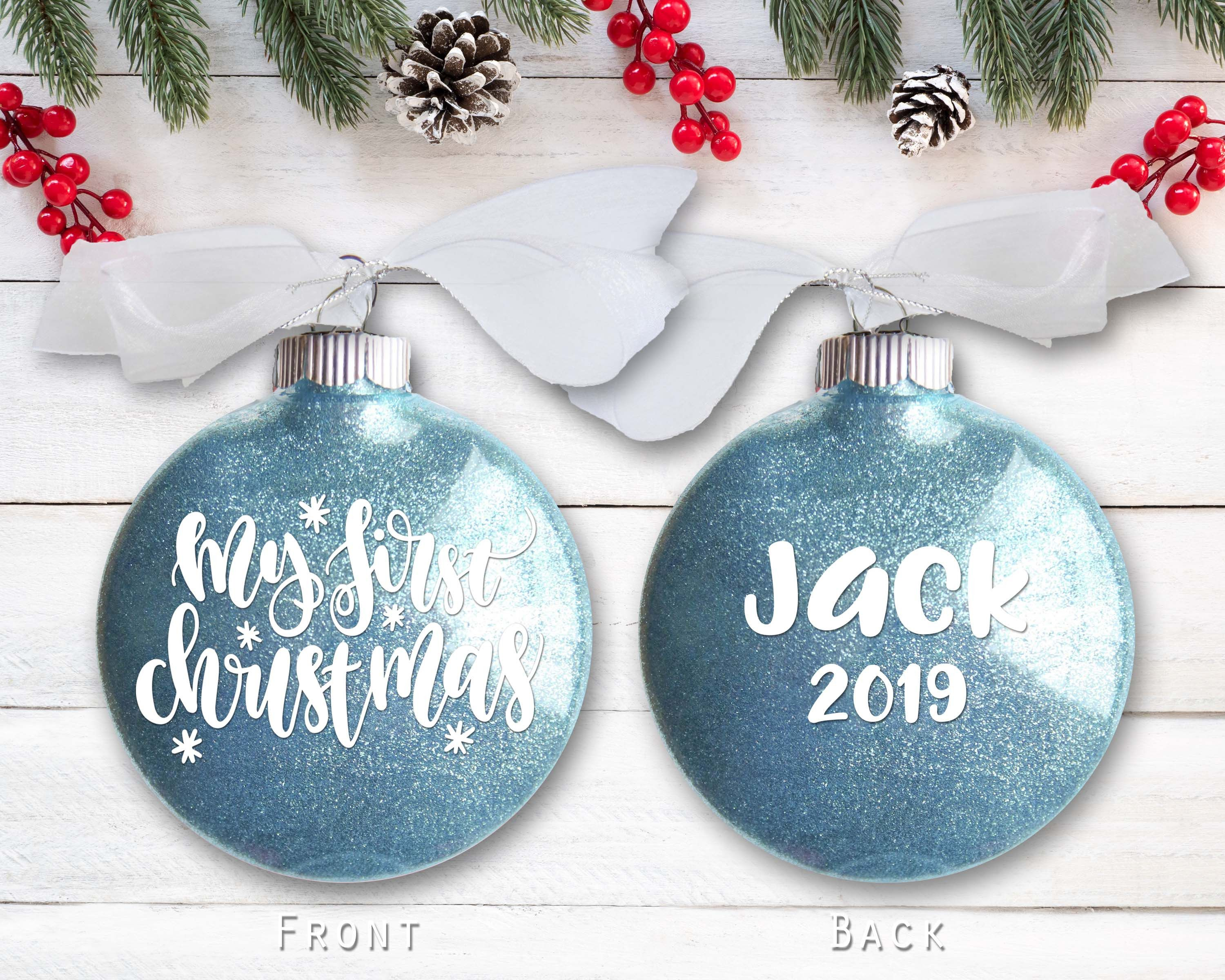 Personalized My First Christmas Ornament For Baby Custom New Etsy In 2021 Baby First Christmas Ornament First Christmas Ornament My First Christmas