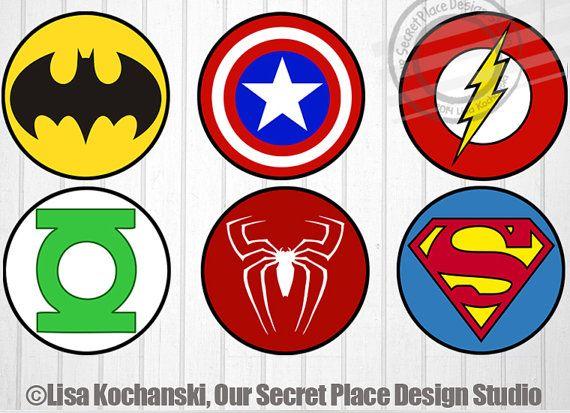 photograph regarding Free Printable Superhero Logos called Immediate Down load Superhero Emblem Stickers Superhero Stickers