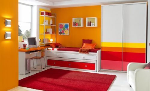 Dormitorio juvenil color naranja anaranjado pinterest - Habitaciones color naranja ...