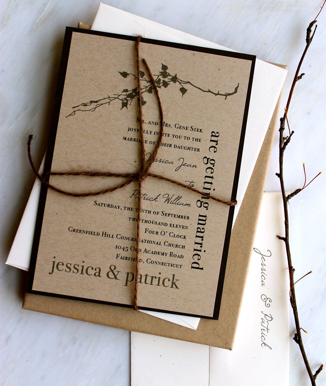 Ivory Romance Rustic Chic Elegant Wedding Invitation Brown