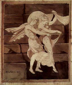 Aphrodite fuhrt Paris zum Duell mit Menelaos - (Henry Fuseli (Johann Heinrich Füssli))