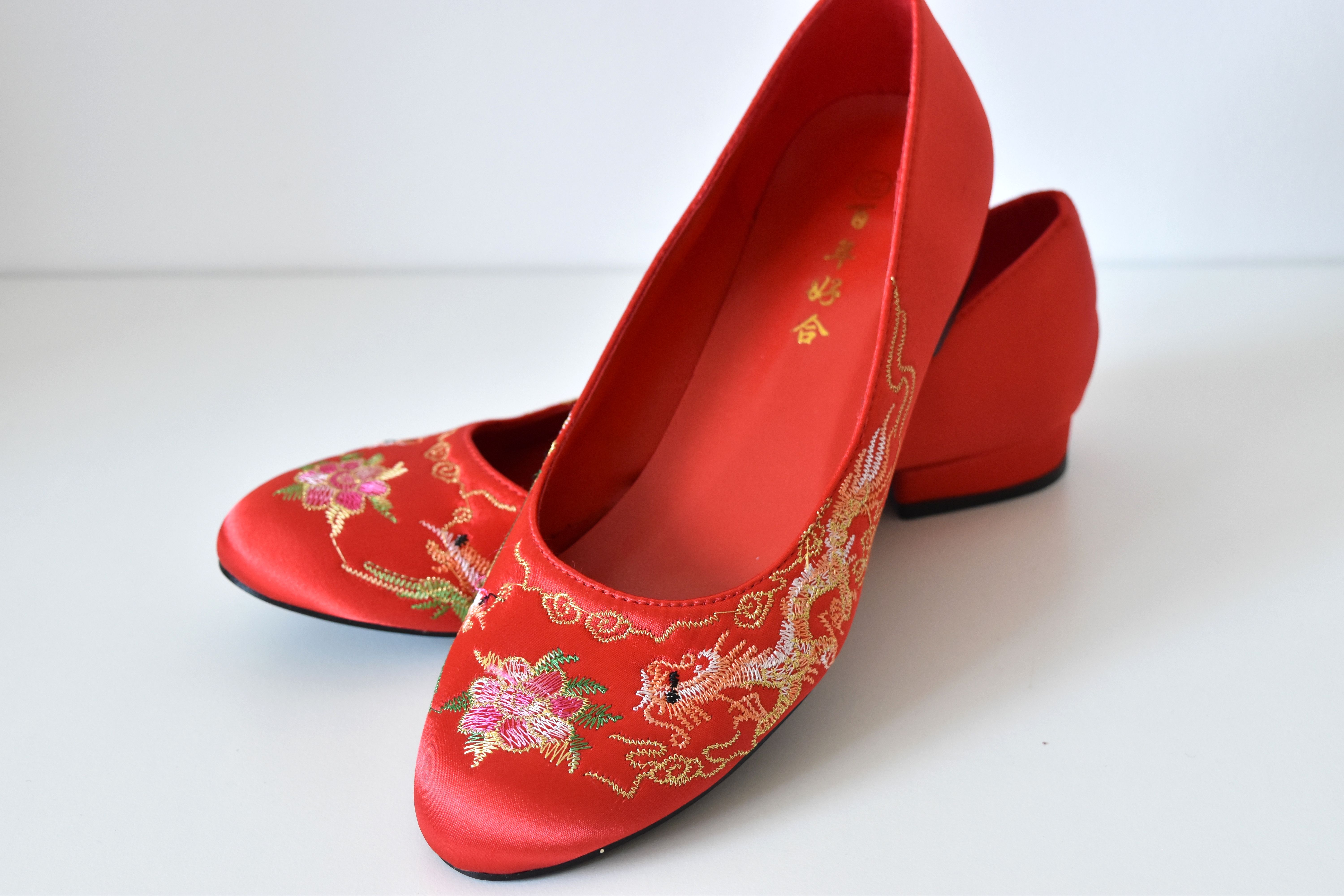 Liang Traditional Red Chinese Wedding Custom Made Shoes Beautiful With Fully Customisable Heel