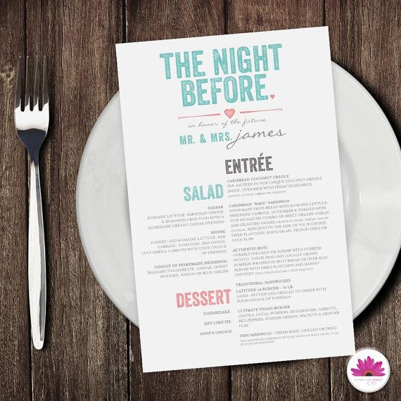 Rehearsal Dinner Menu (Digital File) On