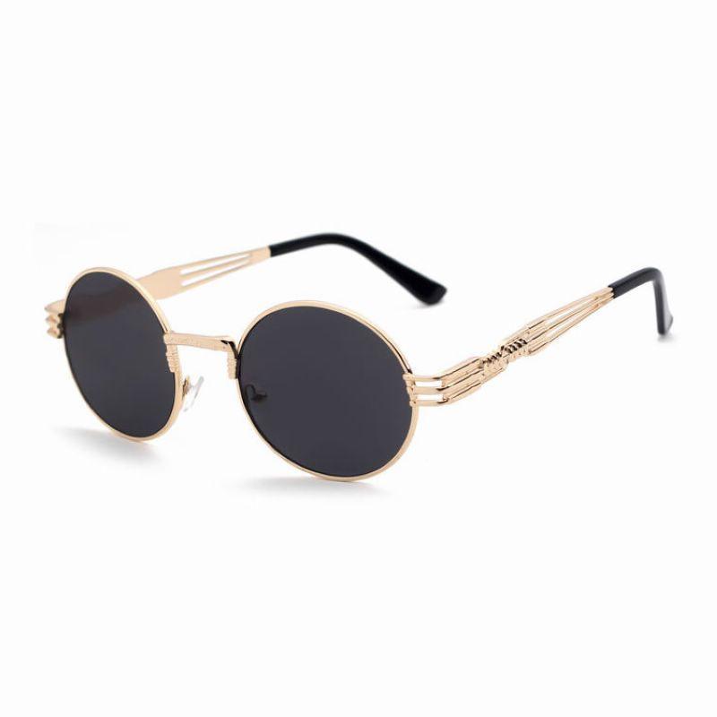 Retro Punk Metal Oval-Frame Sunglasses Gold-Tone/Grey
