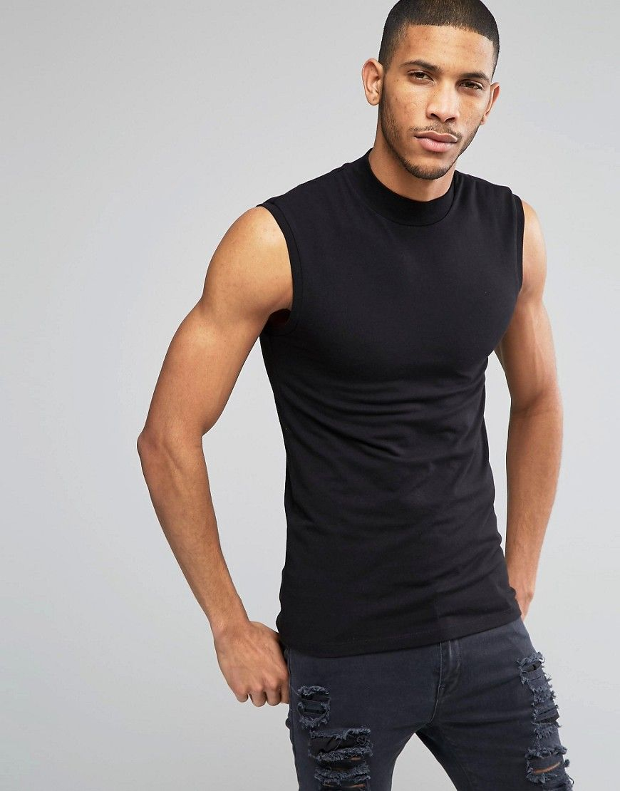 0eaada0111e7e Image 1 of ASOS Extreme Muscle Sleeveless T-Shirt With Turtleneck In Black