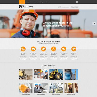 Construction Company Responsive WordPress Theme | web | Pinterest