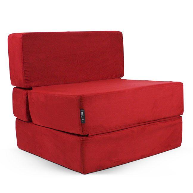 Puf cama convertible antelina rojo puf cama convertible en 2019 - Puff convertible cama ...