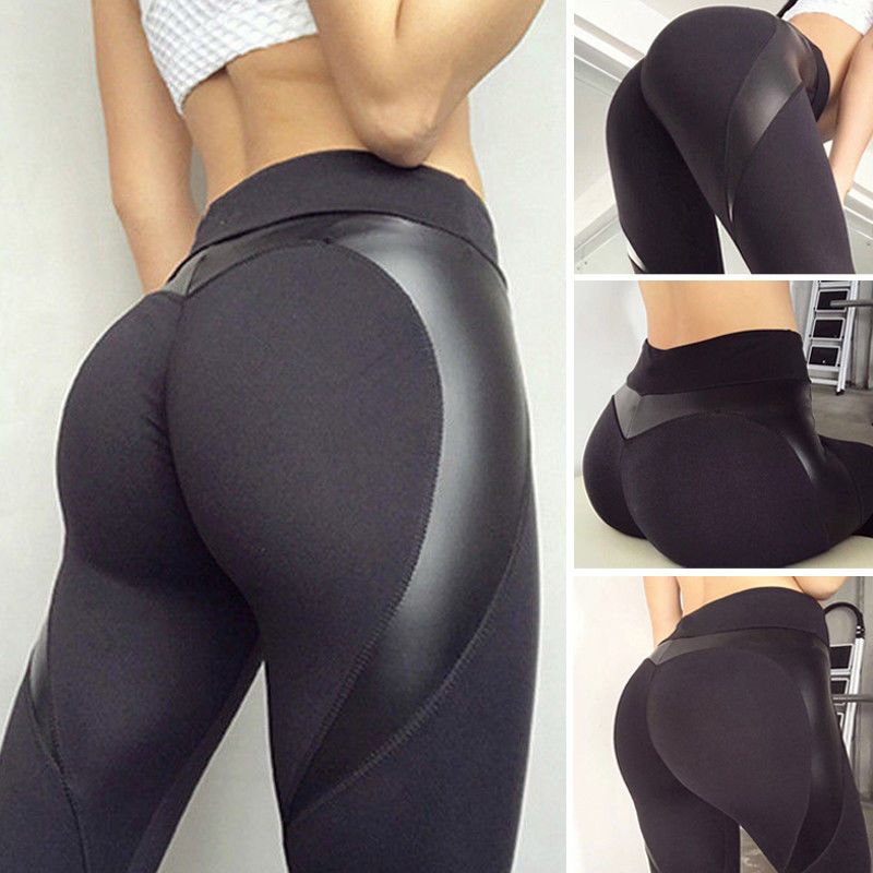 Ladies Butt Lift Yoga Pants Gym Fitness Mesh Splice Leggings Athletic Trousers
