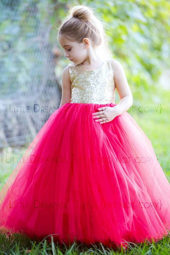 d6ca3e80 The Juliet Dress - Gold Sequin Bodice and Red Tulle - Flower Girl Dress