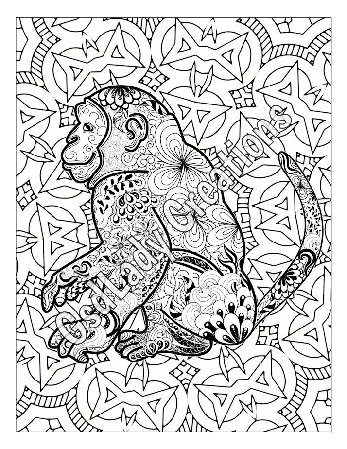 Monkey Animal Art Page To Color Zentangle Animal Zentangle