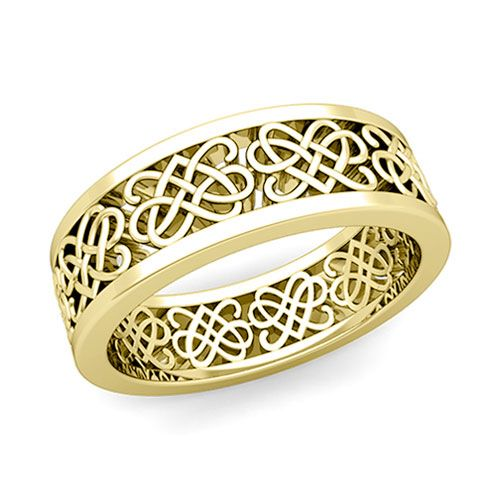 Celtic Heart Knot Wedding Band In 14k Gold Comfort Fit Ring 7mm