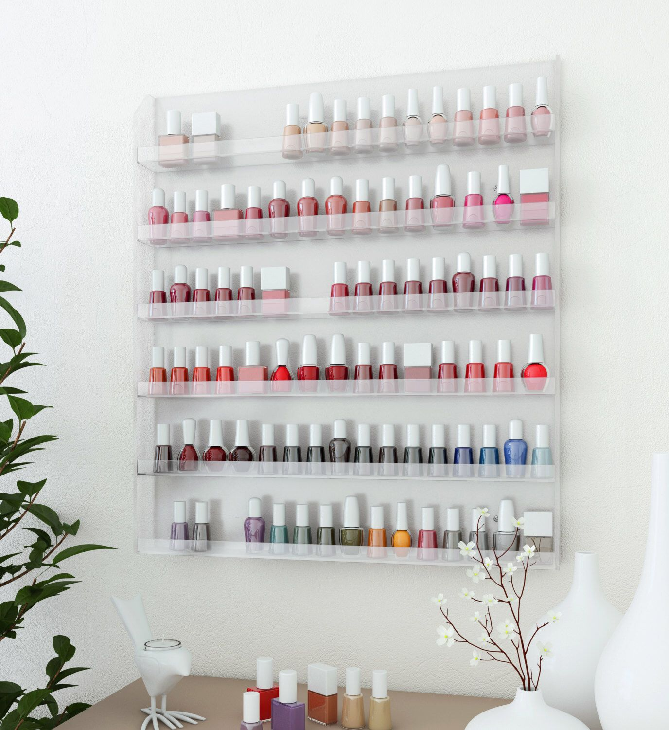 Wall Rack Organizer Holds up to 96 Bottles of Nail Polish by teitelbaum on Etsy https://www.etsy.com/listing/162207302/wall-rack-organizer-holds-up-to-96