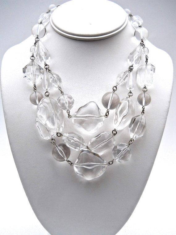 jewelry disc crystalrox l lucite chunky fabric necklace and vintage