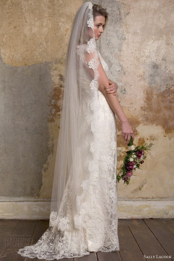 cac16dbd4bd sally lacock bridal 2015 emmeline 1940s lace wedding dress side view veil  -- Sally Lacock Vintage-Inspired Wedding Dress Collection