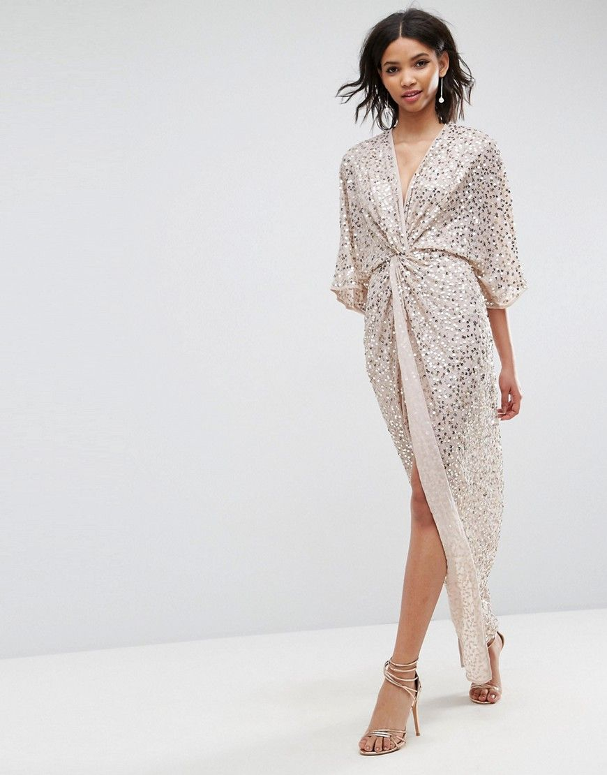 2debeb432d55 DESIGN scatter sequin knot front kimono maxi dress in 2019 | My ...